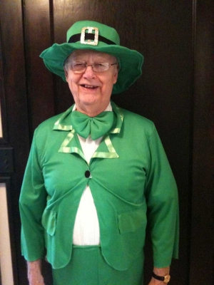 Dad dressed in his St Patrick's Day attire.